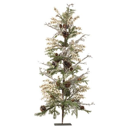 Imbue your home with the spirit of the season with this charming faux tree, featuring pinecones and berries accented by classic evergreen branches.