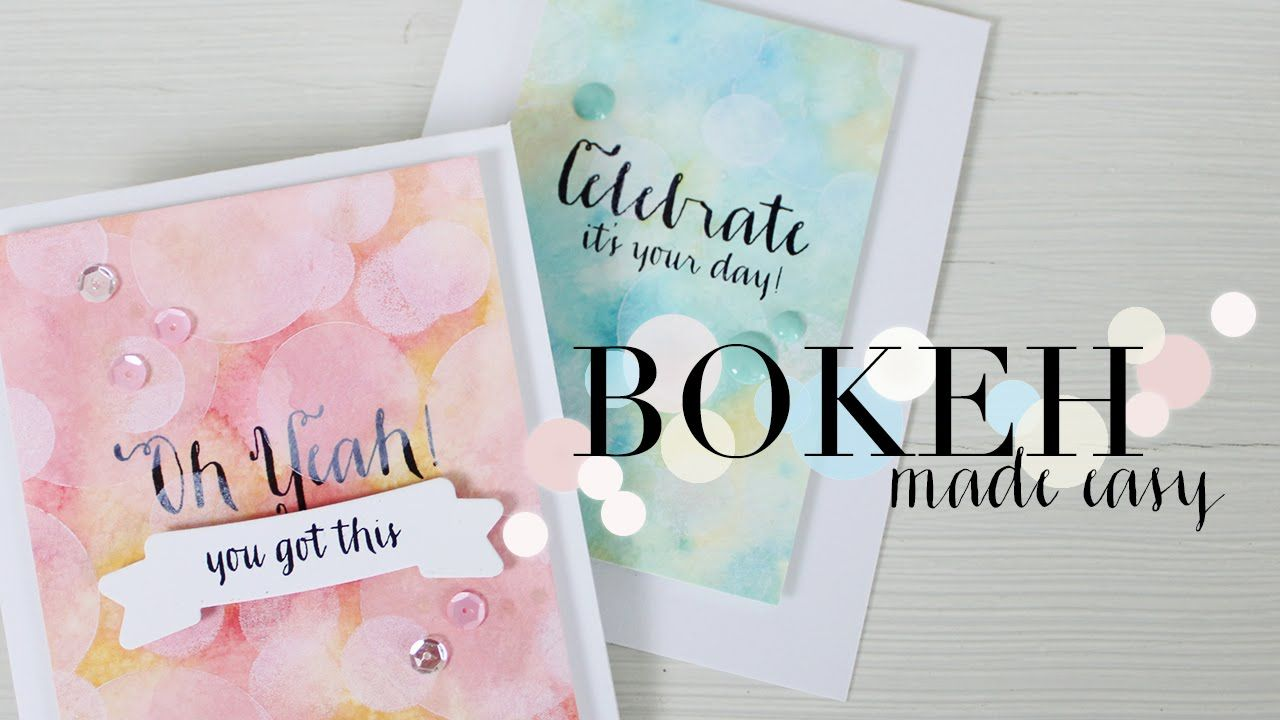 Create an easy bokeh effect using stencils and pigment ink featuring the Wplus9 Strictly Sentiments 5 stamp set. For more information on DIY stencils - http:...