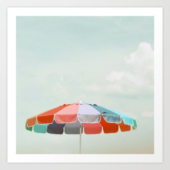 beach umbrella Art Print by Elle Moss. Worldwide shipping available at Society6.com. Just one of millions of high quality products available.