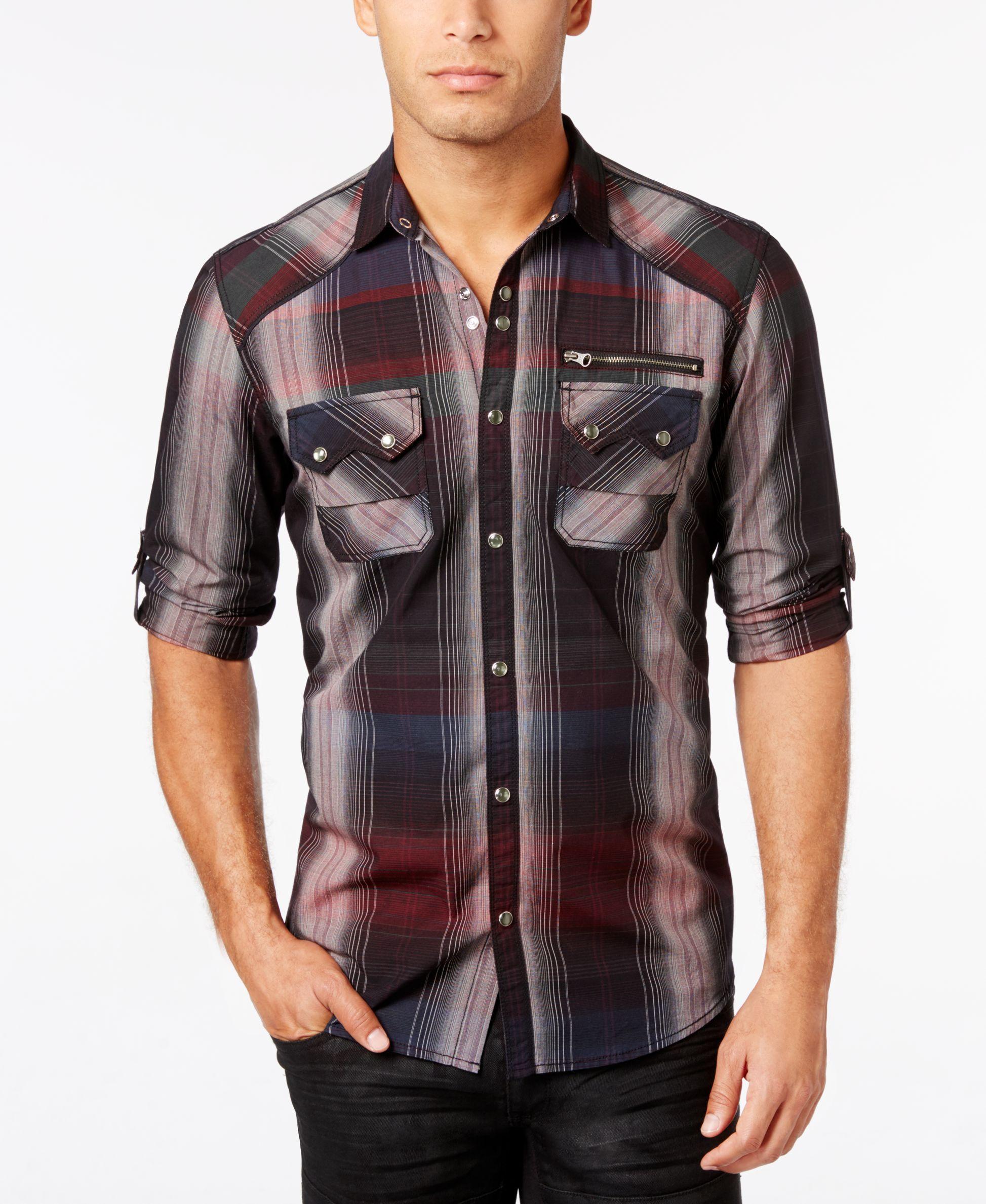 Flannel shirt knot  Inc International Concepts Menus Trinculo Plaid Shirt Only at