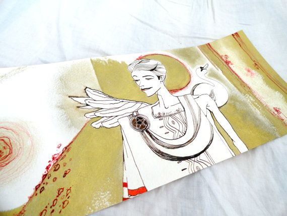 Original The golden age Gold Red and Sepia ink by juliacalimera, $200.00