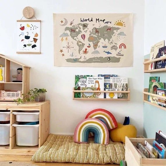 Kids Room Decor Wall Decor, World Map for kids roo