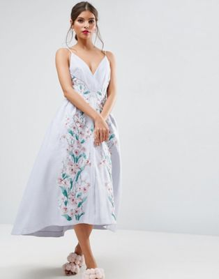 6dbc818293c ASOS SALON Embroidered Paneled Midi Pinny Prom Dress