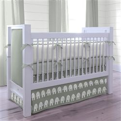 Gray and White Elephants Parade Crib Bedding