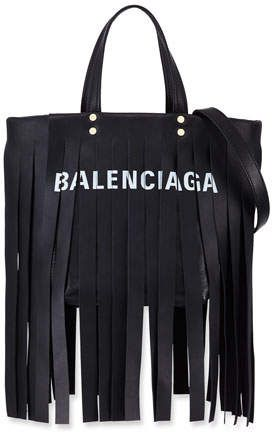 Balenciaga Laundry Cabas XS Fringe Satchel Bag st9akNi