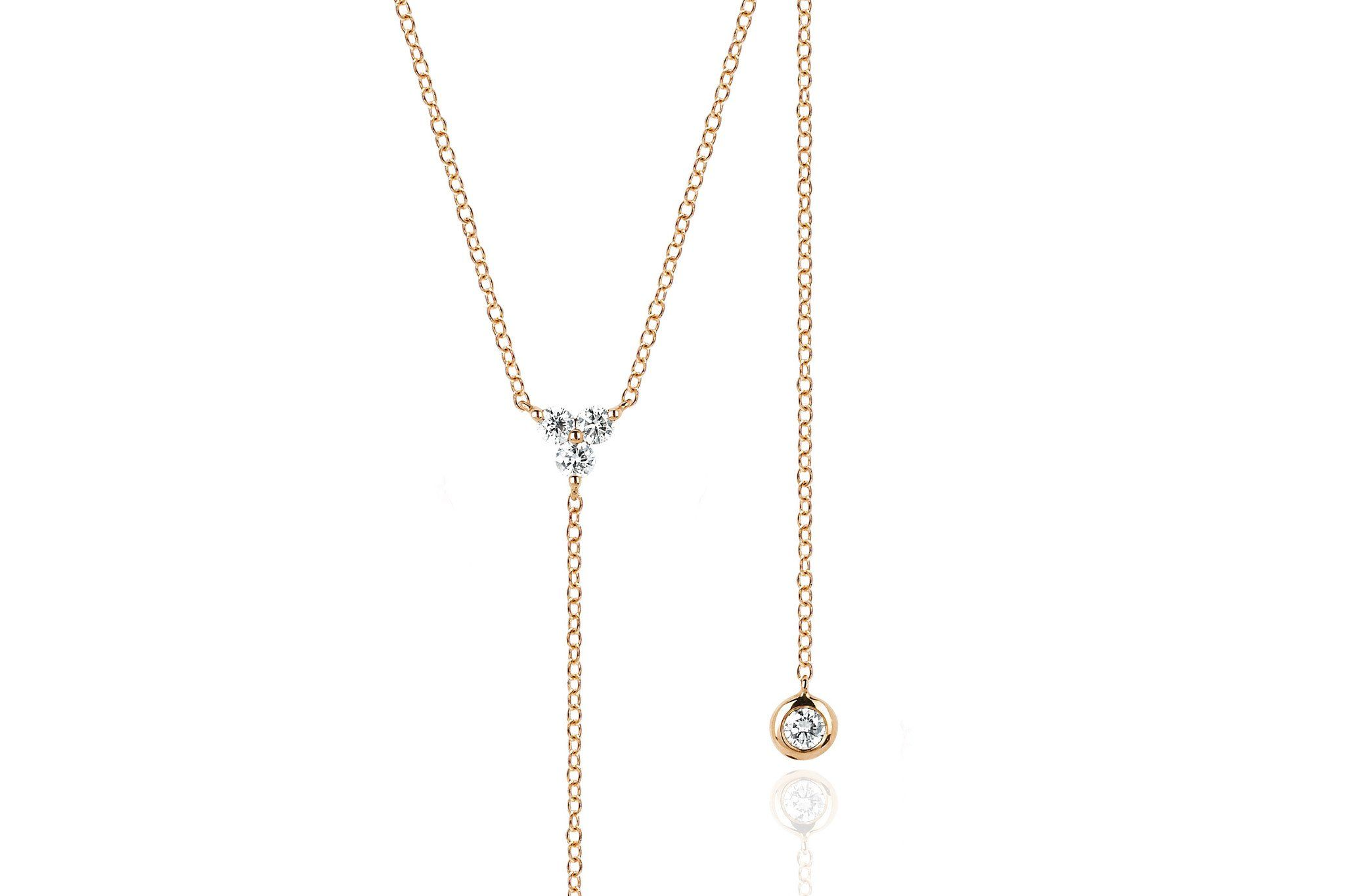 """This delicate diamond trio lariat necklace features .14 carats of diamonds set in 14k rosegold. A simple statement, this necklace is great for everyday! *Adjustable 16-18"""" extension chain *5"""" chain drop"""
