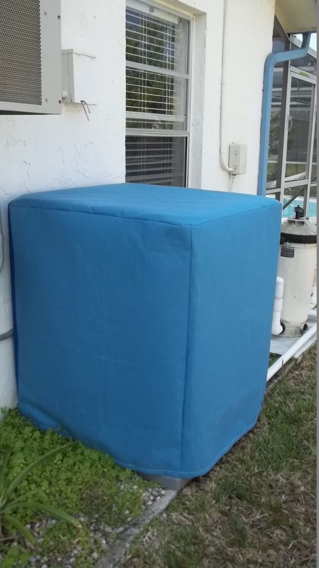 This is a custom made air conditioner cover made of
