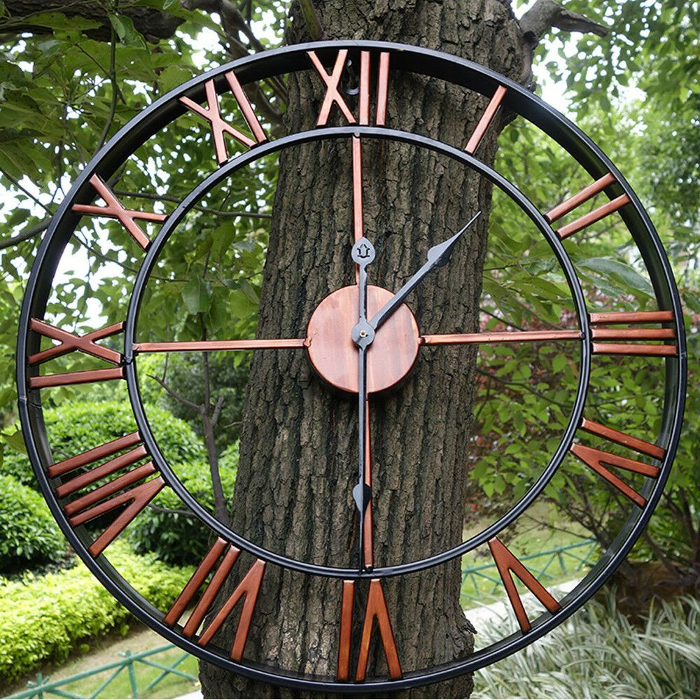 Details About Large Outdoor Garden Wall Clock Antique Big Roman Numeral Round Giant Open Face Large Roman Numeral Wall Clock Outdoor Wall Clocks Large Wall Clock