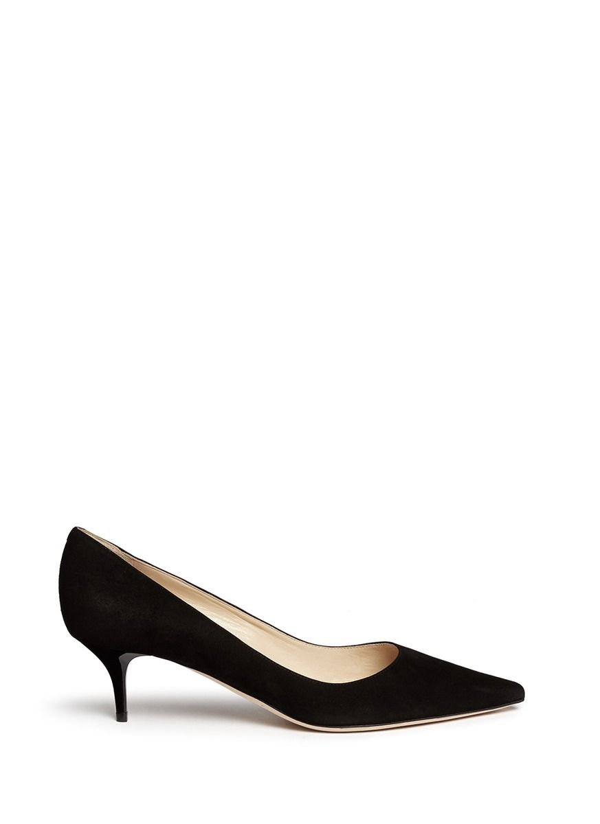 JIMMY CHOO - 'Aza' kitten suede heel pumps | Black Pump Low Heels |