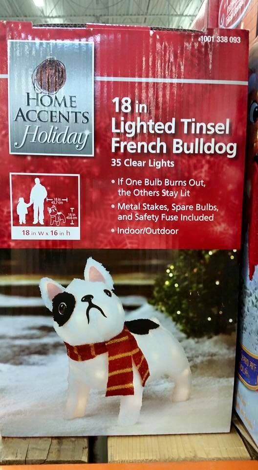 pre lit french bulldog christmas decoration from the home depot in stock