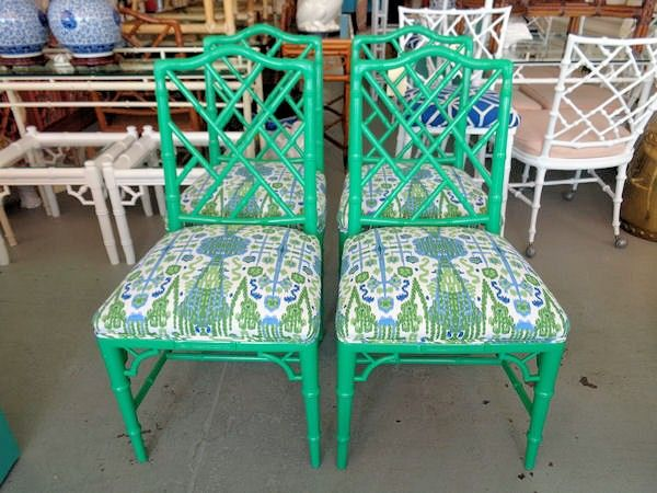 Green Faux Bamboo Chippendale Side Chairs   Set Of 4 FAUX BAMBOO Chippendale  Side Chairs In