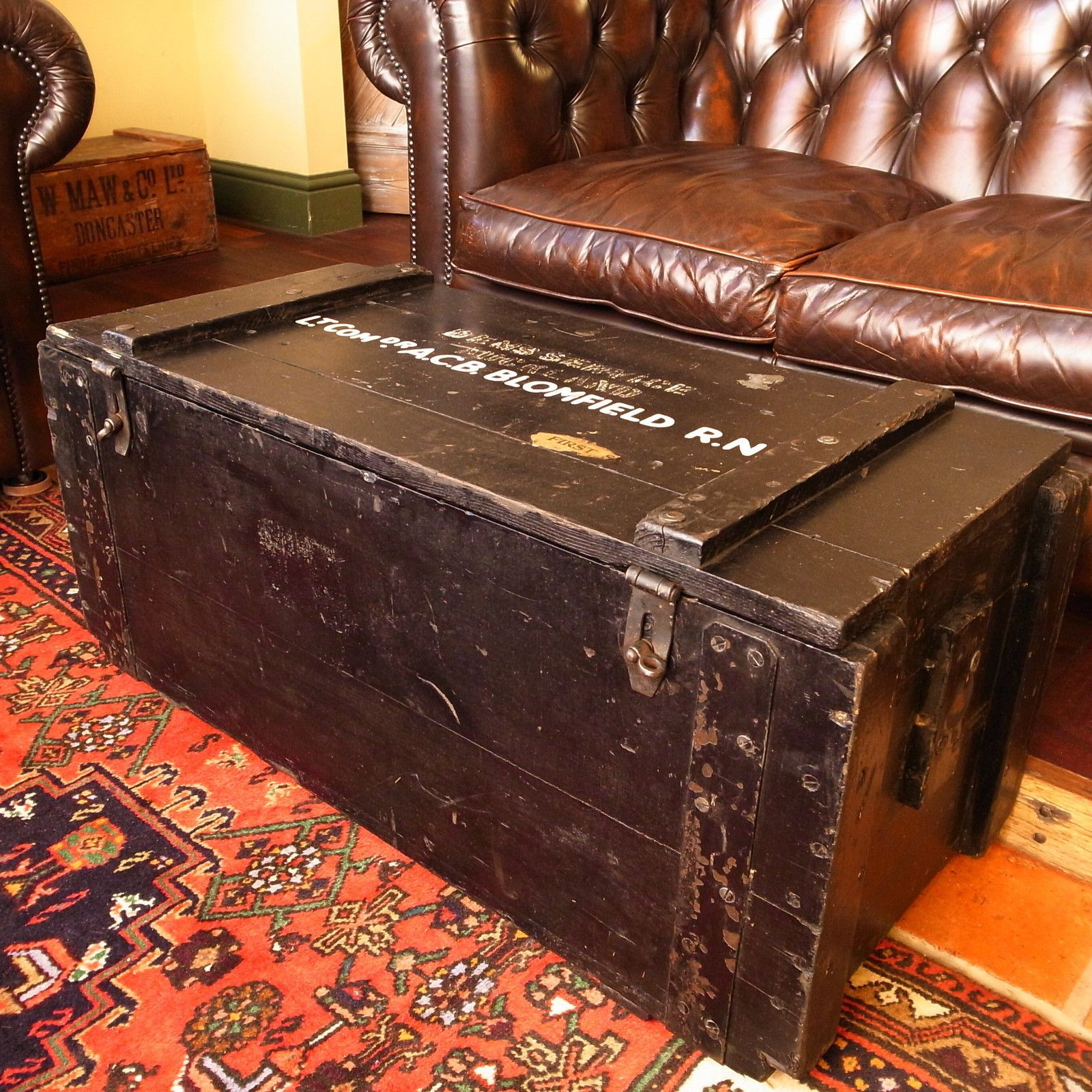 VINTAGE WWII military NAVAL sea chest trunk RUSTIC plank COFFEE