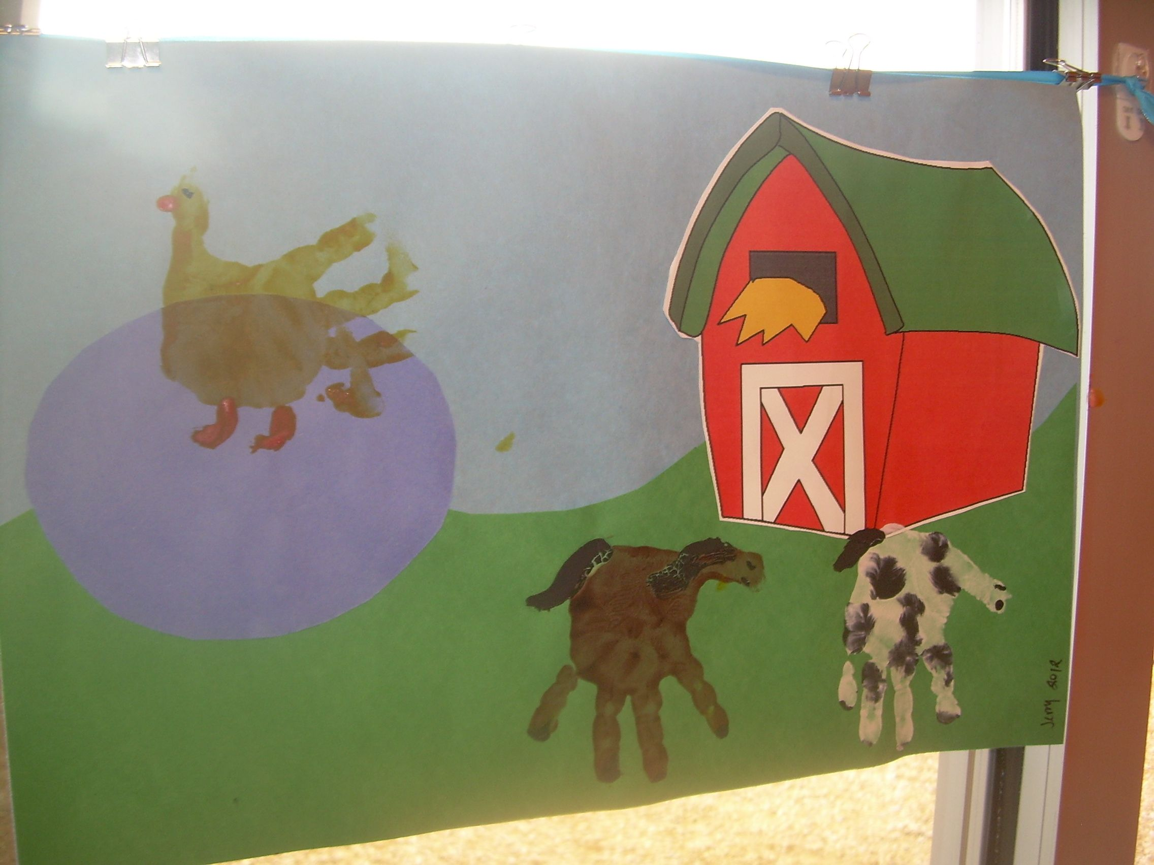 our barns we used the barn from httpwwwdltk teachcombooksfarmindexhtm and then did hand print animals got the idea from