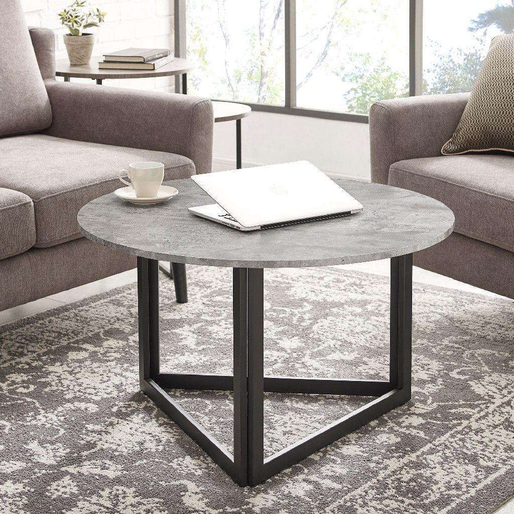 32 Modern Metal Base Round Coffee Table In Dark Concrete Walker Edison Af32nivctdc Coffee Table Round Coffee Table Circle Coffee Tables [ 1024 x 1024 Pixel ]