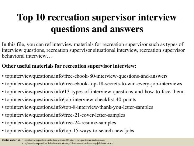 Top  Recreation Supervisor Interview Questions And Answers
