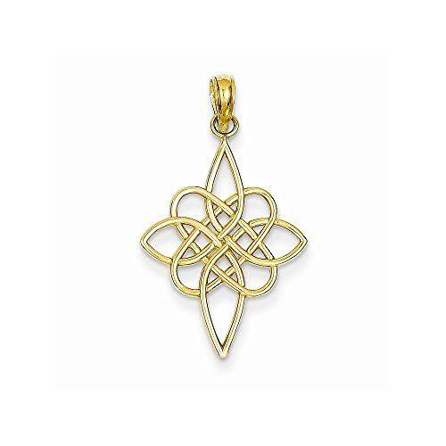 14K Yellow Gold Cut-Out Irish Celtic Knot Charm Pendant 28 mm