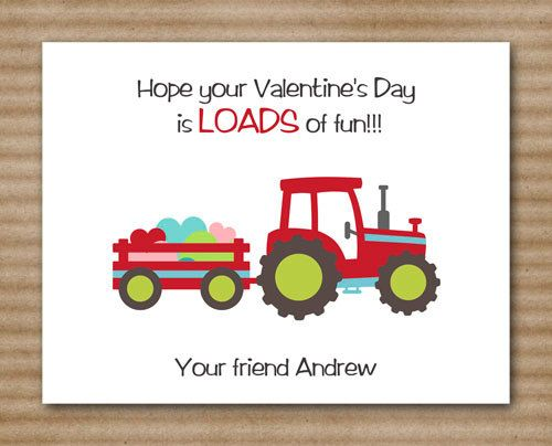 Tractor Valentine Cards : Kids valentines truck tractor flat cards personalized set