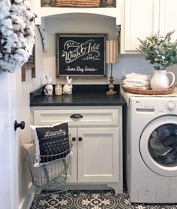 "Distressed Farmhouse Living Room: 20X24 ""Wash & Fold Laundry"" / Farmhouse Style / Rustic"