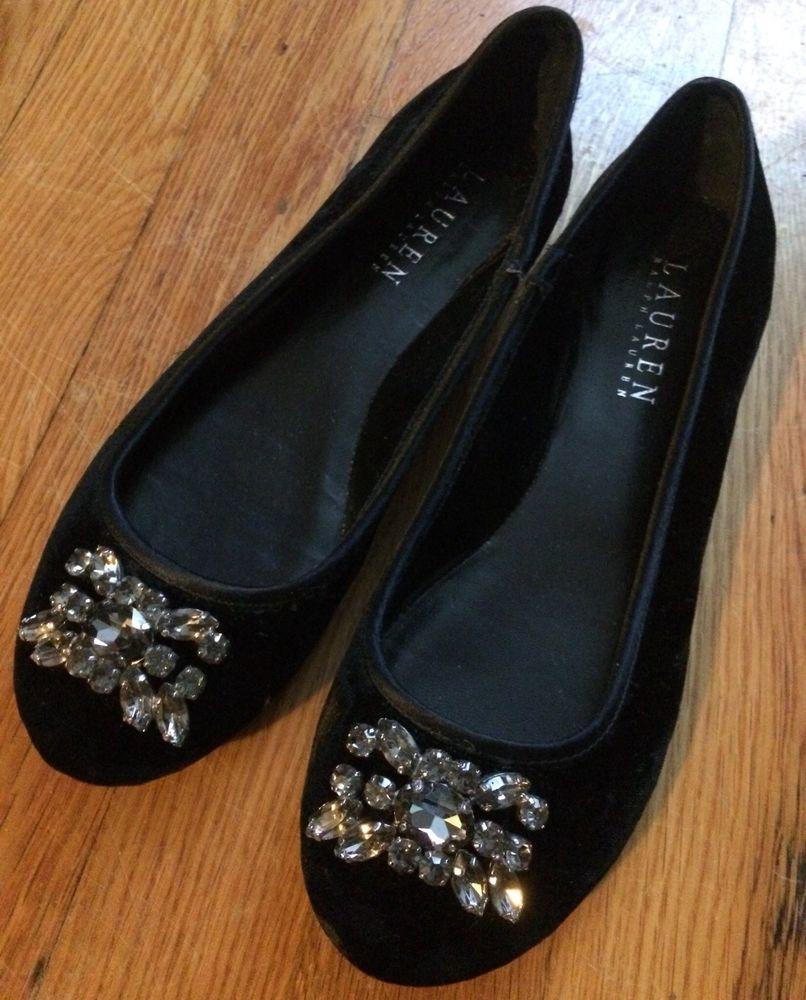 5504256dc605 Girls Dressy Black Velvet Ralph Lauren Flat Shoes - size 5B  fashion   clothing