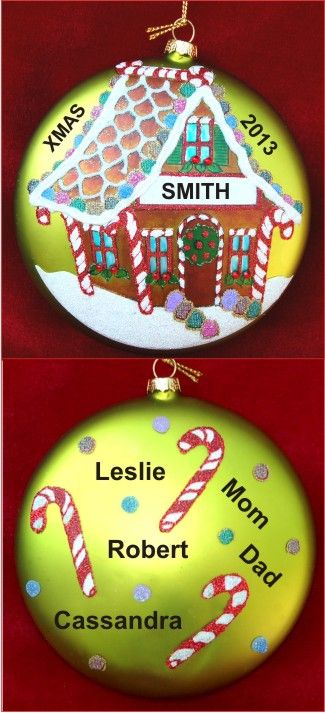 Gingerbread House Our Growing Family Baby Ornament Personalized