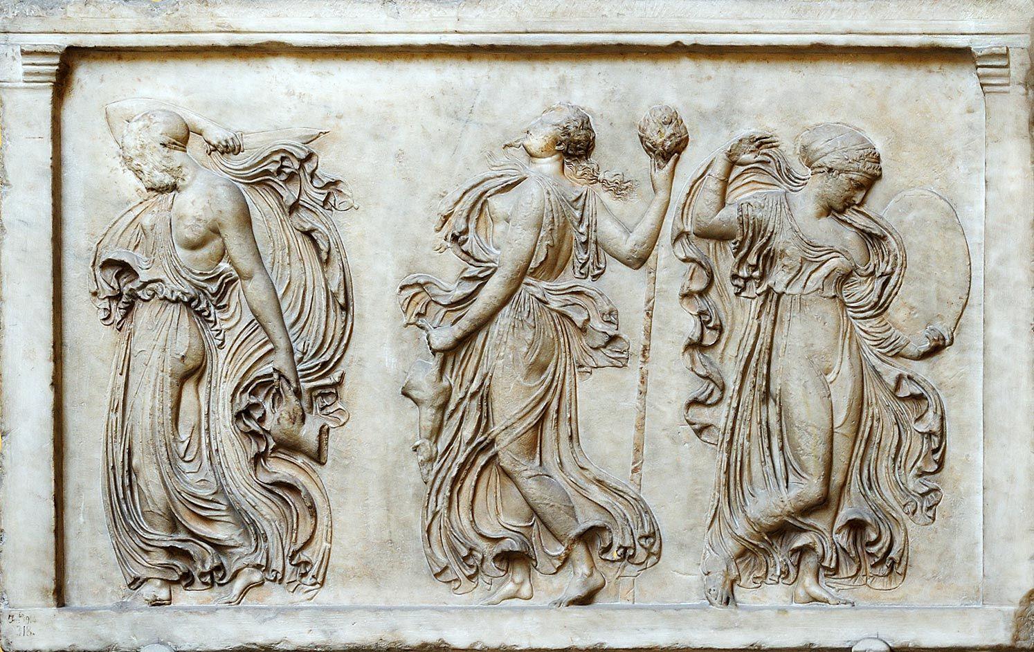 Relief With Dancing Maenads Pentelic Marble Roman Copy