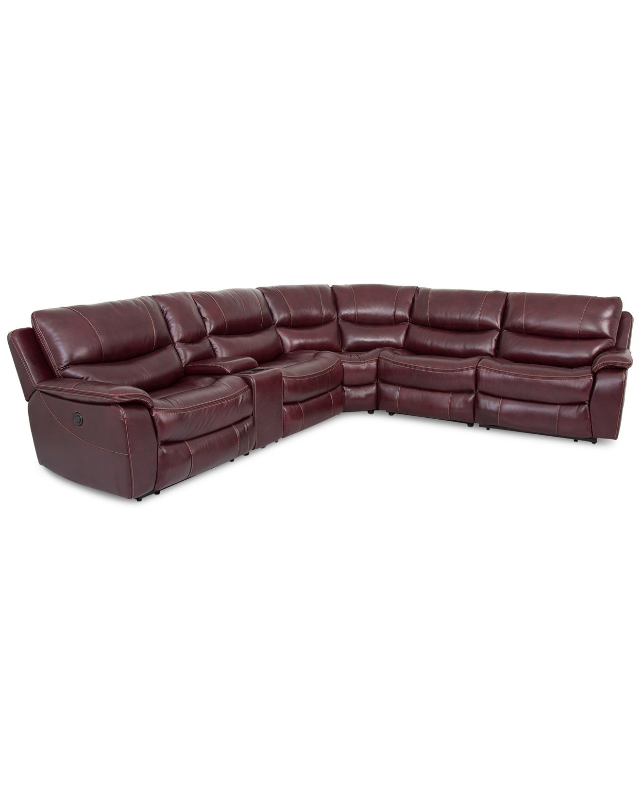 CLOSEOUT Daren Leather 6pc Sectional Sofa with 3 Power Recliners