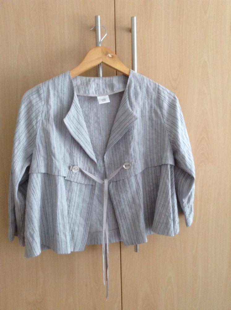 CREA CONCEPT charcoal stripe linen mix jacket lagenlook 38 uk 10
