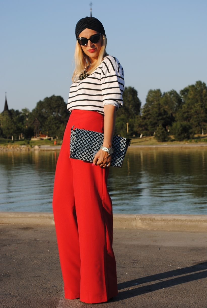 8b9b0b1d093 Red palazzo pants with black and white stripe top