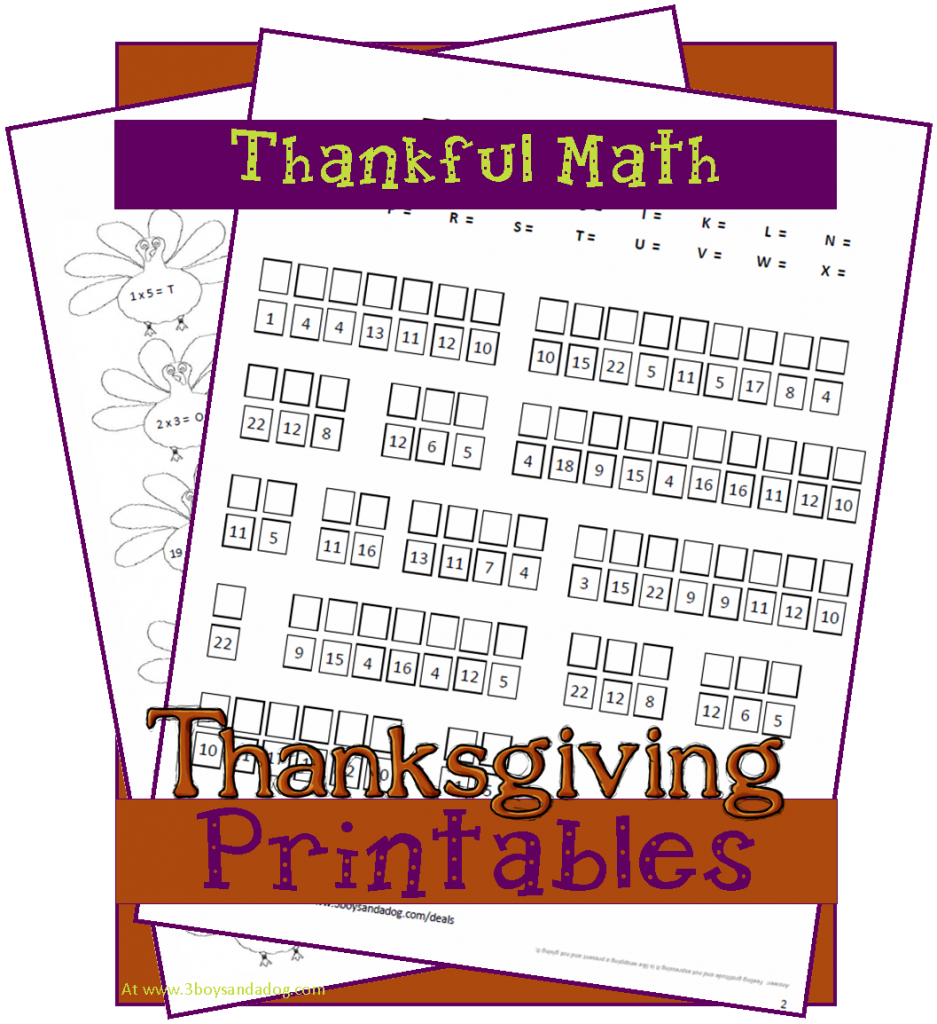Free Homeschool Printable: Thankful Math (reader request ...
