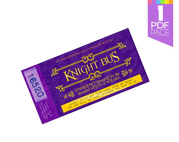 Knight Bus Ticket Template - Harry Potter Party Invite supply with