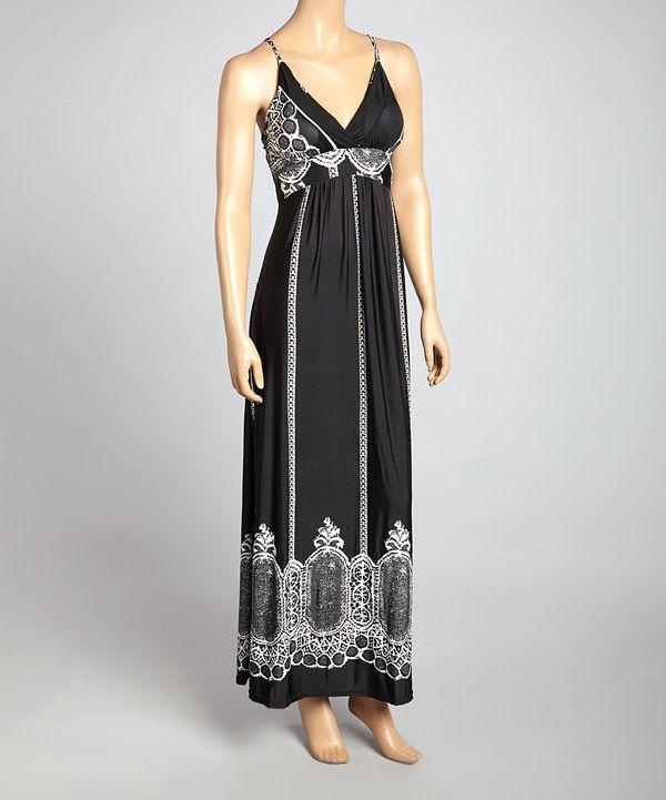 97b9916c59e Ella Samani Black   White Tapestry Empire-Waist Maxi Dress by Ella Samani