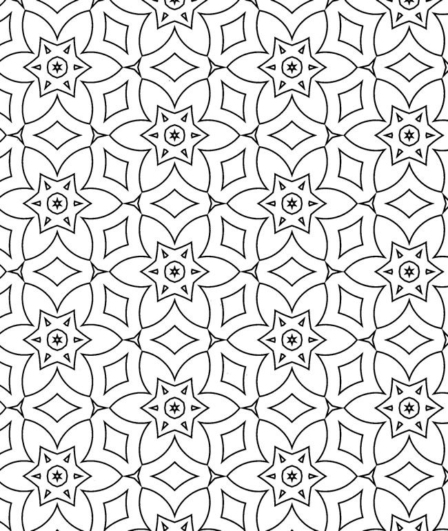 BW Geometric Flowers Design | Geometry | Coloring pages, Pattern ...