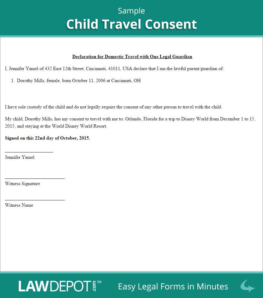 Child Travel Consent Sample  Aug Cruise    Cruises
