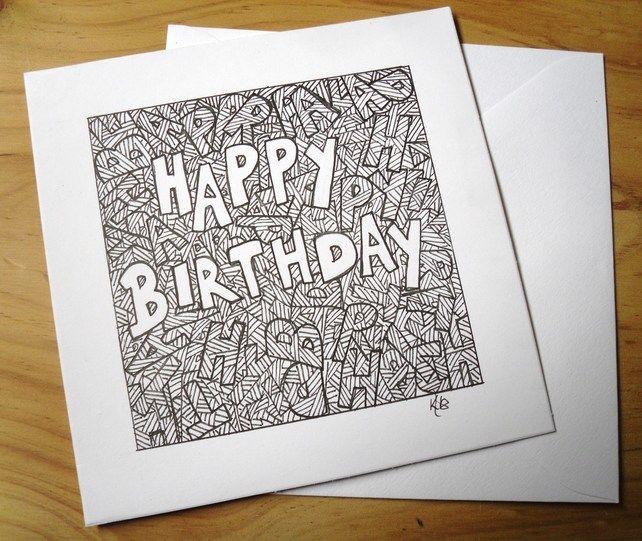 Doodle Art Birthday Card, Black Ink Drawing Greetings Card