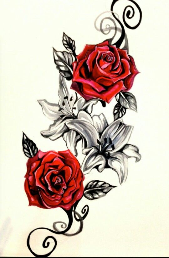 Red Roses And Black And White Lilies With Scroll Rose Vine Tattoos Vine Tattoos Rose Tattoo Design