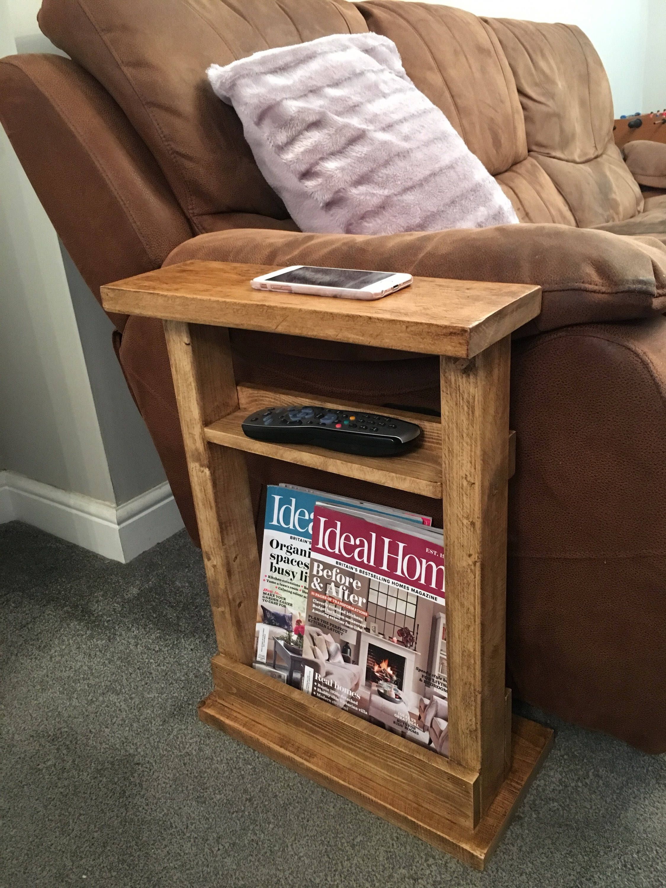 Narrow Side Table Slim Side Table End Table Sofa Table Magazine Rack Settee Table Rustic Quebec Pine By R Sofa End Tables End Table Plans Man Cave Table