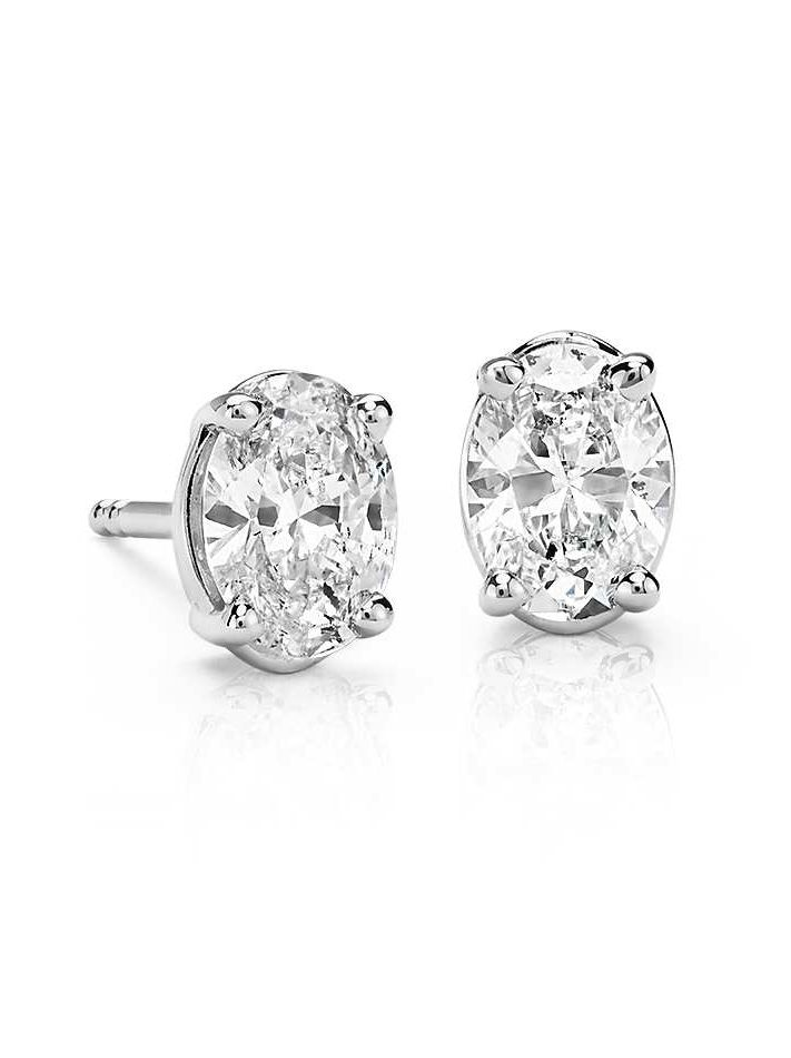These Diamond Stud Earrings Feature Oval Near Colorless Diamonds Set In 14k White Gold 1 Ct Tw