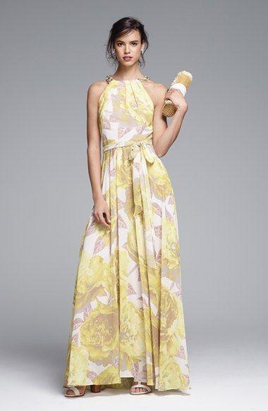 beb6641ef74 Eliza J Beaded Print Chiffon Maxi Dress