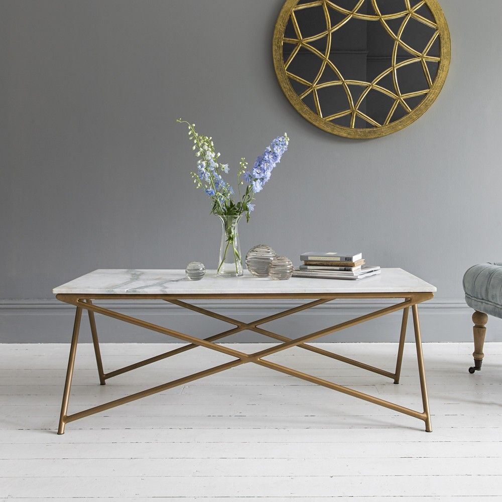 Stellar White Marble Coffee Table with elegant gold legs ...
