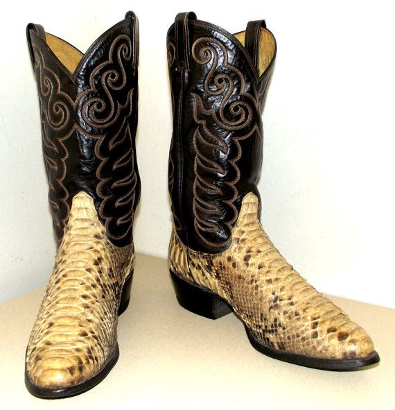 Exotic Snakeskin cowboy boots black leather with fancy embroidery ...