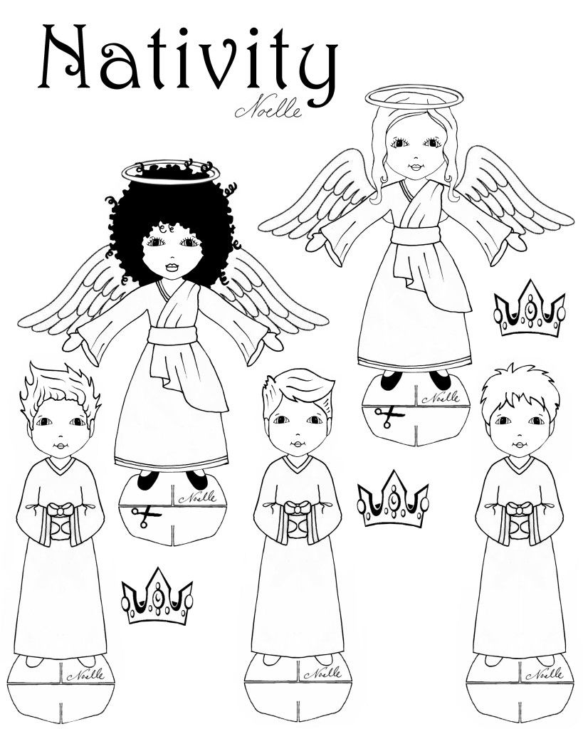 FREE Printable Coloring Page Nativity Set By Christen Noelle Christmas