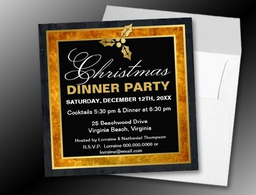 Elegant Christmas Golden Holly Invitations Holiday Open House