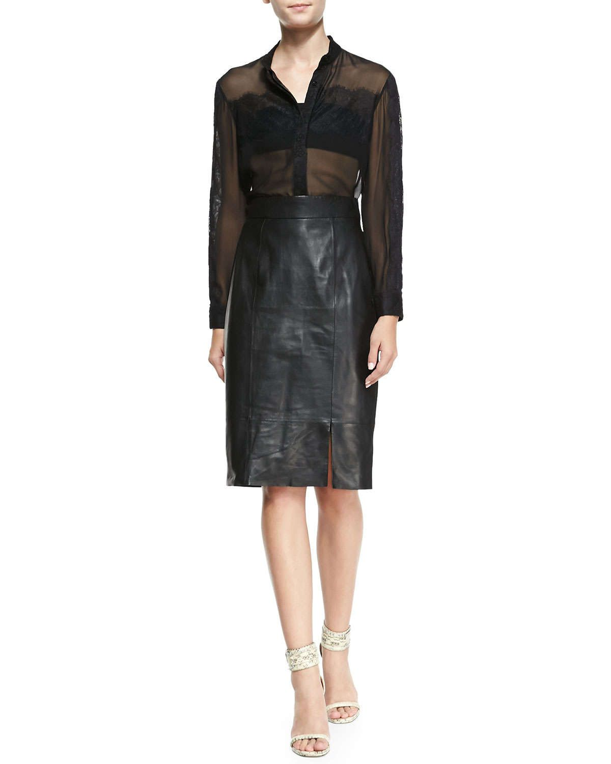 Long Leather Pencil Skirt