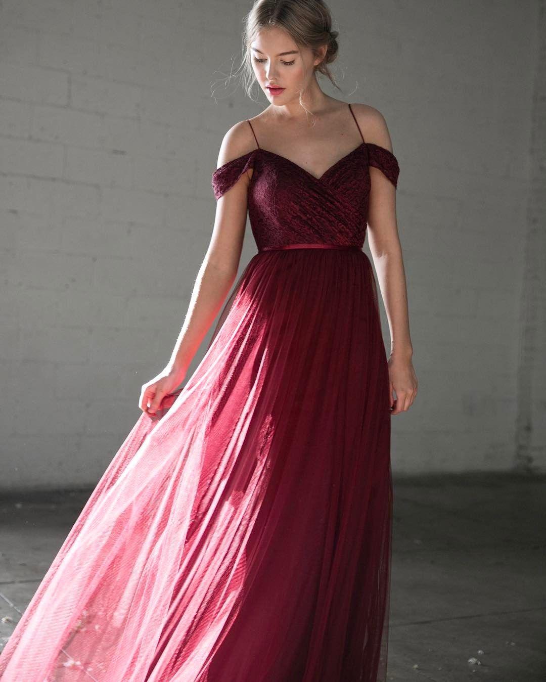 burgundy bridesmaid dresses with off shoulder design