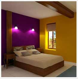The purple and yellow colors create a complementary color for Interior home color combinations and contrast