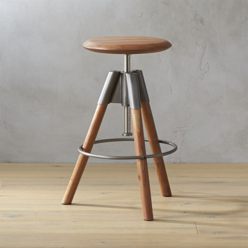 Shop Revolution Adjustable Bar Stool Handcrafted Round Of Sustainable Acacia Wood Twists Up Down Seven In Bar Stools Adjustable Bar Stools Modern Bar Stools