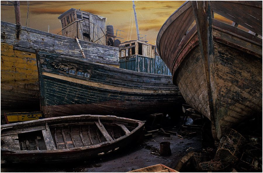 Abandoned old fish boats in the city Essaouira (Morocco)