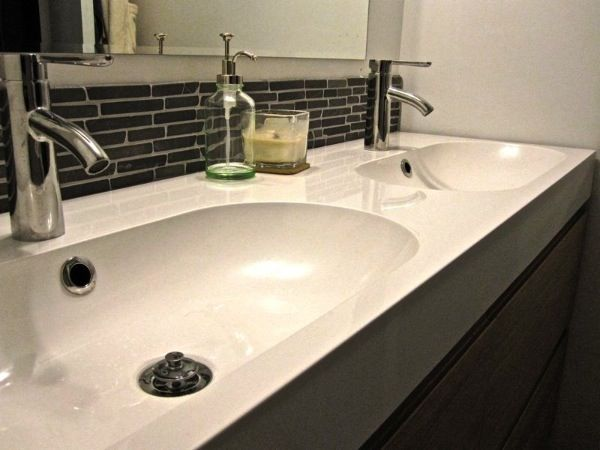 Backsplash  Otego Black Tile  Natural Stone Outlet  Sink  Braviken  IKEA. two people   two sinks   Ikea vanity  Sinks and Bath