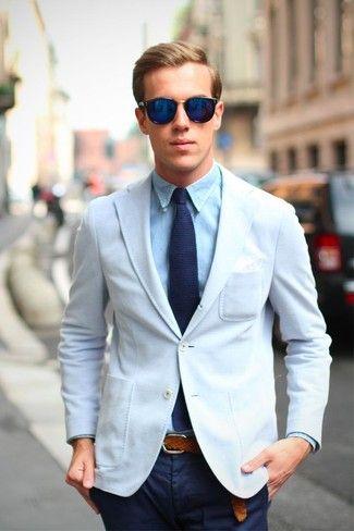 10faa19f Look de moda: Blazer Blanco, Camisa de Vestir Celeste, Pantalón Chino Azul  Marino