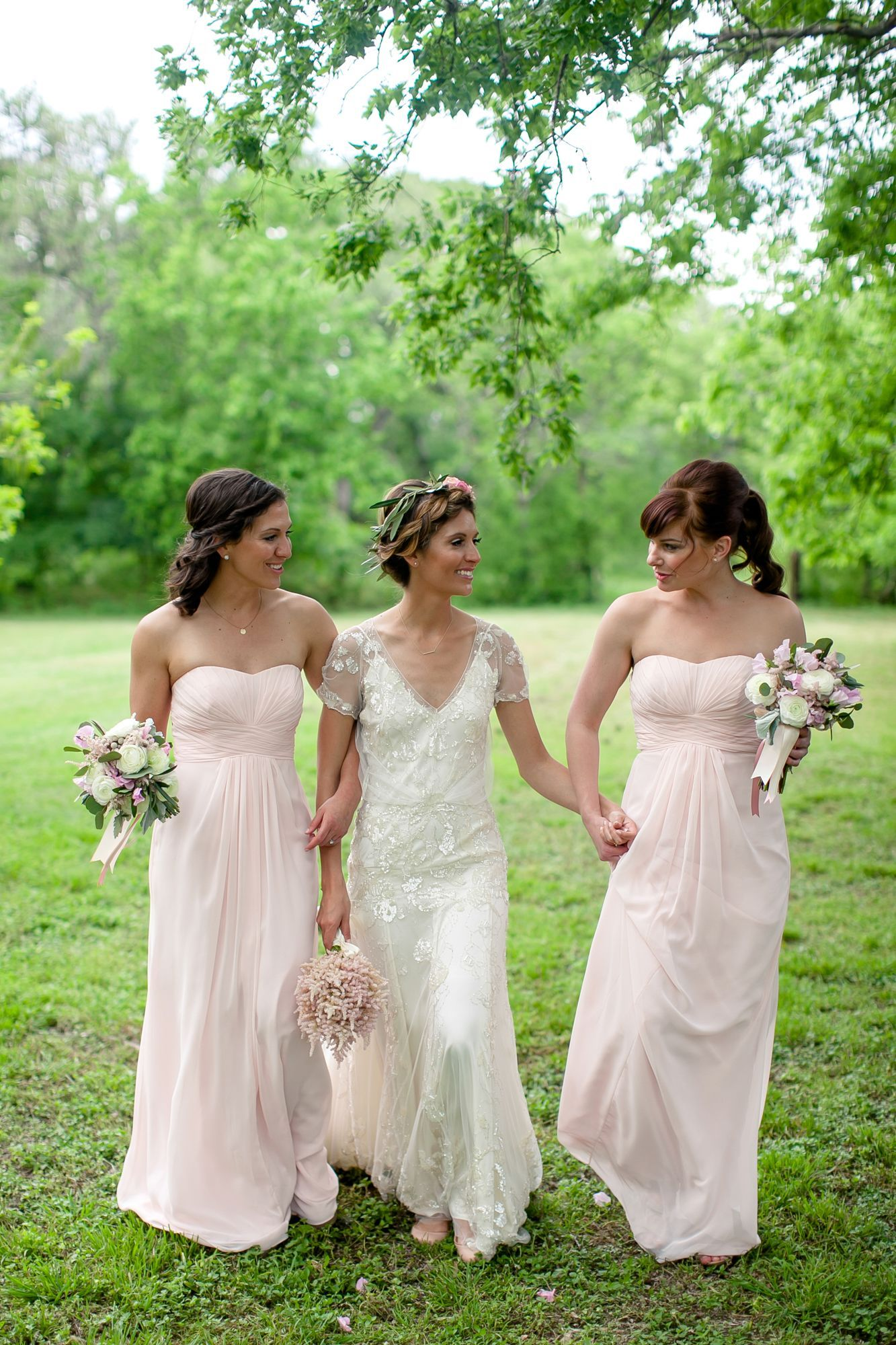 Strapless Pale Blush Chiffon Bridesmaids Dresses